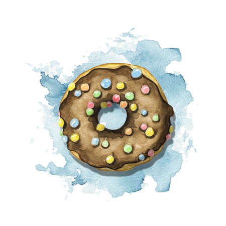 One round donut with chocolate glaze and colorful topping on blue stain background. Watercolor hand drawn illustration 版權商用圖片