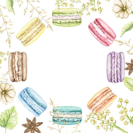Border frame with flowers, leaves, multicolor various color macaroon on white background. Watercolor hand drawn illustration