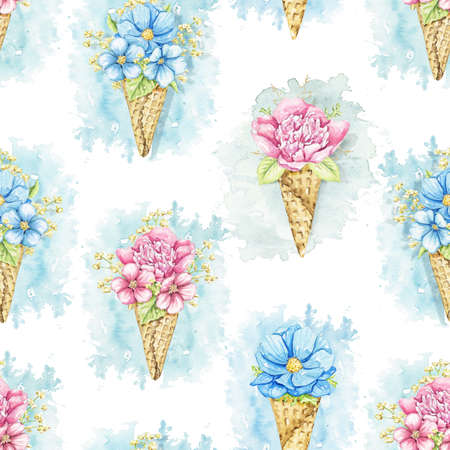 Seamless pattern with bouquets with pink and blue flowers in waffle cones isolated on white background. Watercolor hand drawn illustration 版權商用圖片 - 155348153