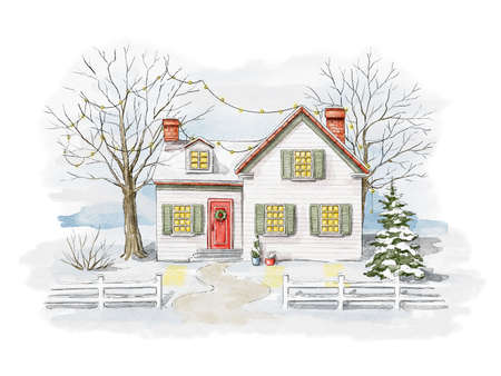 Winter Christmas landscape with country house, snow and trees isolated on white background. Watercolor hand drawn illustration 版權商用圖片 - 155348155