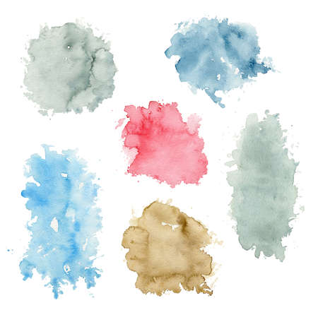 Set with various watercolor stains isolated on white background. Hand drawn illustration 版權商用圖片