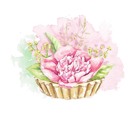 Muffin with pink peony flower and greenery isolated on rose stain background. Watercolor hand drawn illustration