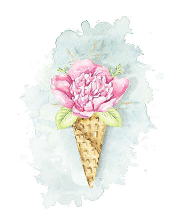Pink peony flower and foliage in waffle cone on blue stain background. Watercolor hand drawn illustration