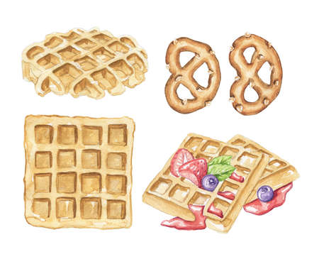 Seamless pattern with various Belgian waffles and pretzel isolated on white background. Watercolor hand drawn illustration 版權商用圖片 - 155348436