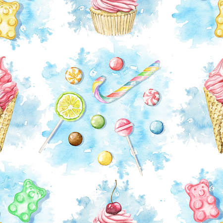 Seamless pattern with multicolor sweets on blue stain background. Watercolor hand drawn illustration 版權商用圖片 - 155348437