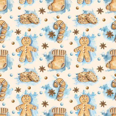 Seamless pattern with various gingerbread cookies on blue stains and beige background. Watercolor hand drawn illustration 版權商用圖片