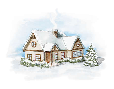 Winter Christmas landscape with country house, snow and trees isolated on white background. Watercolor hand drawn illustration 版權商用圖片