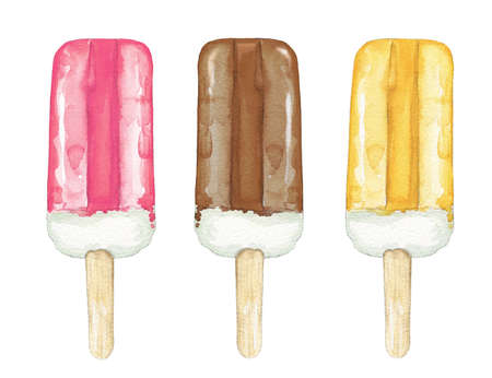 Set with three various lolly ice cream in fruit ice glaze isolated on white background. Watercolor hand drawn illustration 版權商用圖片