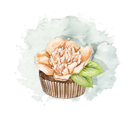 Muffin with beige peony flower on blue stain background. Watercolor hand drawn illustration 版權商用圖片