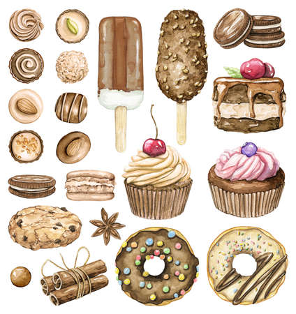 Set with various chocolate ice cream, cakes, cookies, candies and sweets isolated on white background. Watercolor hand drawn illustration