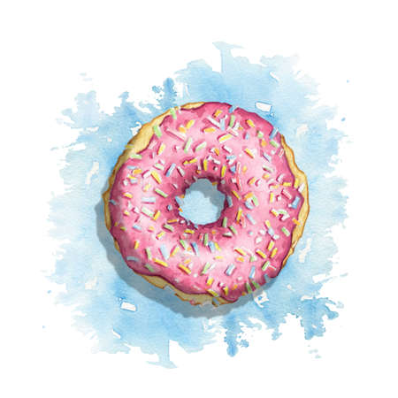 One round donut with pink glaze and colorful topping on blue stain background. Watercolor hand drawn illustration