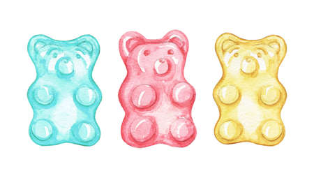 Set with three multicolored marmalade jelly bears candy isolated on white background. Watercolor hand drawn illustration 版權商用圖片