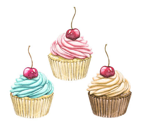 Set with three various cupcakes with cherry isolated on white background. Watercolor hand drawn illustration 版權商用圖片 - 154878224