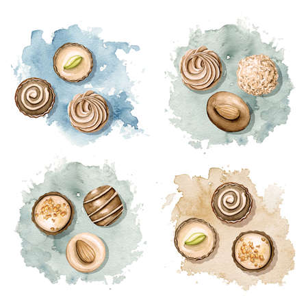 Set with various chocolate candies on stain background. Watercolor hand drawn illustration