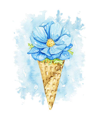Blue flower in waffle cone on blue stain background. Watercolor hand drawn illustration