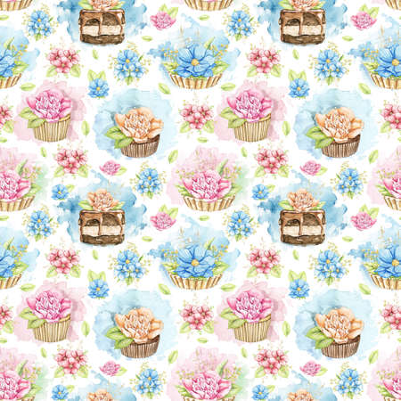 Seamless pattern with flowers and cupcakes on white background. Watercolor hand drawn illustration 版權商用圖片