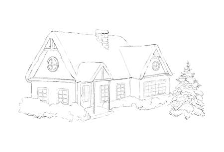 Winter Christmas landscape with country house, snow and trees isolated on white background. Graphic outline sketch illustration
