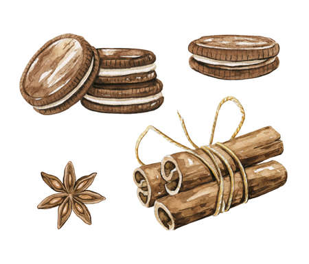 Set with various cookies and cinnamon isolated on white background. Watercolor hand drawn illustration 版權商用圖片 - 154794596