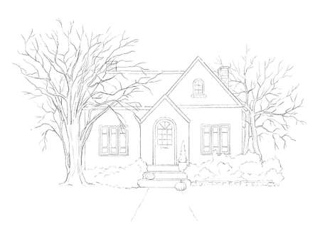 Winter landscape with country house and trees isolated on white background. Graphic outline sketch illustration 版權商用圖片 - 154794764