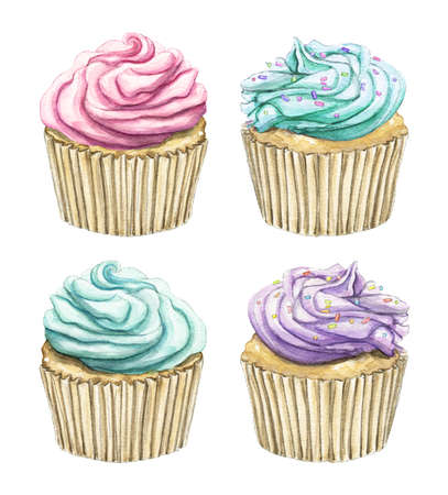 Set with four varied cupcakes isolated on white background. Watercolor hand drawn illustration 版權商用圖片