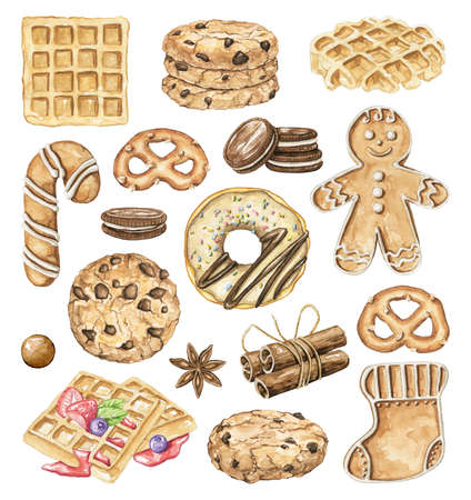 Big set with various bakery cakes, cookies, waffles, donut and sweets isolated on white background. Watercolor hand drawn illustration