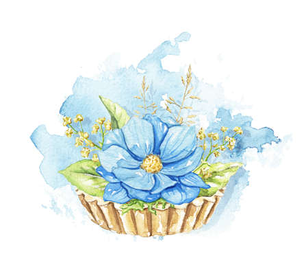 Blue one flower and greenery on cupcake on blue stain background. Watercolor hand drawn illustration 版權商用圖片 - 154920773