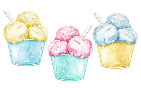 Set with three various multicolor ice cream in cup with spoon isolated on white background. Watercolor hand drawn illustration