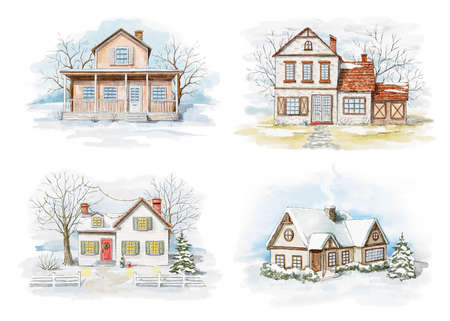 Set with winter Christmas landscape with country houses, snow and trees isolated on white background. Watercolor hand drawn illustration 版權商用圖片 - 155237161