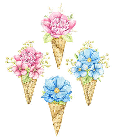 Set with bouquets with pink and blue flowers in waffle cones isolated on white background. Watercolor hand drawn illustration 版權商用圖片