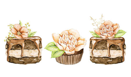 Set with chocolate cakes brownie with flowers composition isolated on white background. Watercolor hand drawn illustration 版權商用圖片 - 155237517