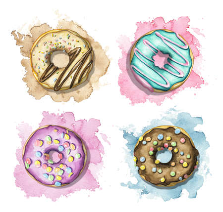 Set with various multicolor round donuts with glaze and topping on colorful stains background. Watercolor hand drawn illustration