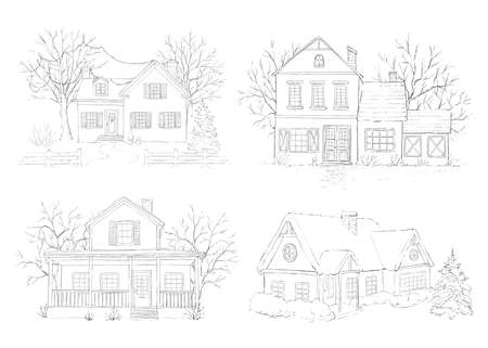 Set with winter Christmas landscape with country houses, snow and trees isolated on white background. Graphic outline sketch illustration Stock Photo
