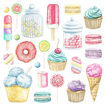 Big set with various ice cream, cakes, donuts, candies and sweets isolated on white background. Watercolor hand drawn illustration