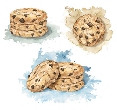 Set with home made round chocolate chip cookies on stain background. Watercolor hand drawn illustration 版權商用圖片 - 155451840