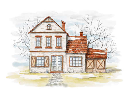 Spring landscape with country house, snow and trees isolated on white background. Watercolor hand drawn illustration
