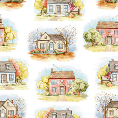 Seamless pattern with autumn country houses, lawns and trees isolated on white background. Watercolor hand drawn illustration