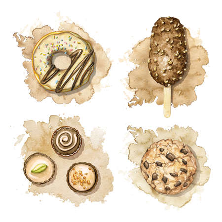 Set with cookie, donut, ice cream and chocolate candies isolated on beige spot background. Watercolor hand drawn illustration