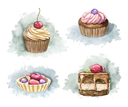Set with chocolate muffins and cakes with cream and berries isolated on blue spot. Watercolor hand drawn illustration