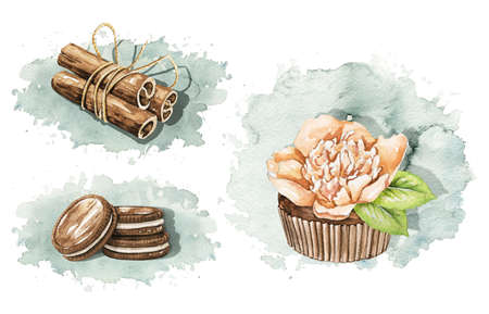 Set with Christmas gingerbread cookies on blue stain background. Watercolor hand drawn illustration 版權商用圖片