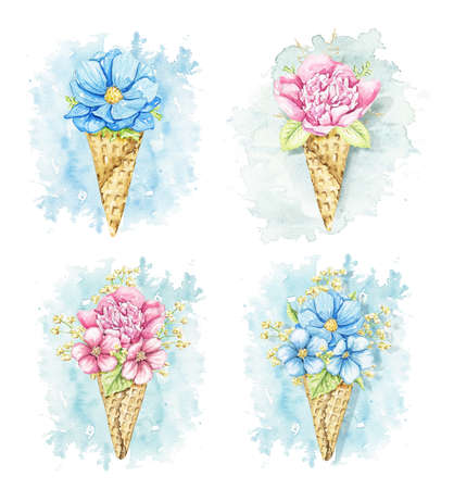 Set with bouquets with pink and blue flowers in waffle cones isolated on blue spot background. Watercolor hand drawn illustration