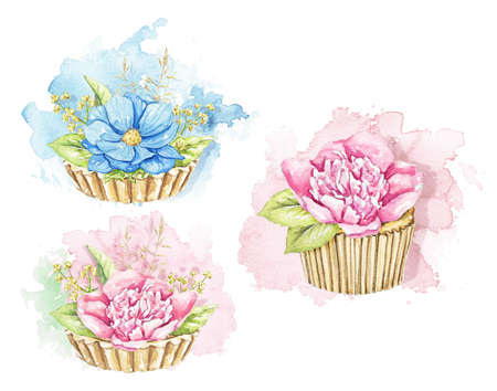Set with bouquets with pink and blue flowers in cupcakes isolated on spot background. Watercolor hand drawn illustration