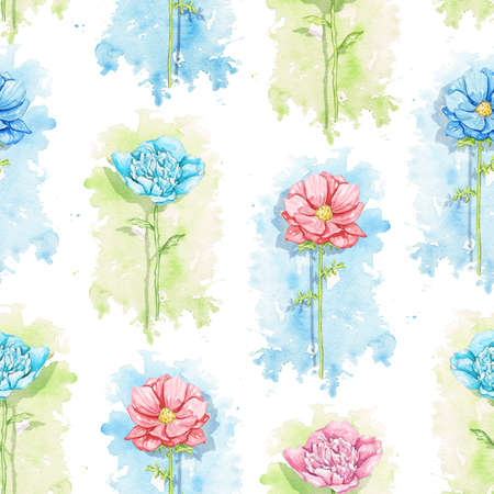 Seamless pattern with blue and red flowers on green stains background. Watercolor hand drawn illustration