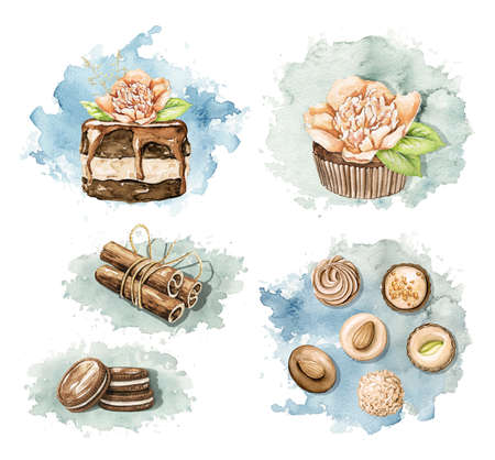 Set with cookies, cinnamon, chocolate candy and cupcakes with flower on blue stain background. Watercolor hand drawn illustration