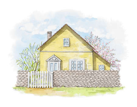 Summer landscape with yellow country house, lawn and trees isolated on white background. Watercolor hand drawn illustration