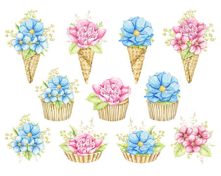 Set with bouquets with pink and blue flowers in waffle cones and cupcakes isolated on white background. Watercolor hand drawn illustration