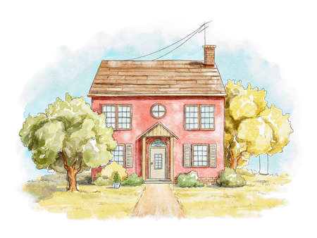 Summer landscape with country house, lawn and trees isolated on white background. Watercolor hand drawn illustration 版權商用圖片