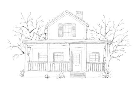 Winter landscape with country house and trees isolated on white background. Graphic outline sketch illustration