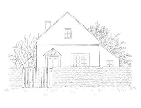 Summer landscape with yellow country house, lawn and trees isolated on white background. Graphic outline sketch illustration