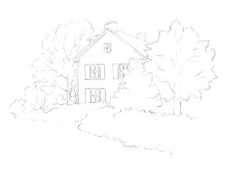 Summer landscape with country house, lawn and trees isolated on white background. Graphic outline sketch illustration 版權商用圖片