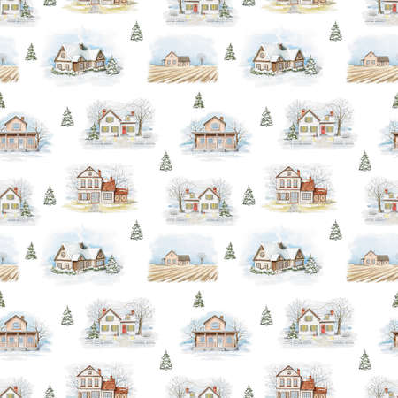 Seamless pattern with winter Christmas country houses, snow and trees isolated on white background. Watercolor hand drawn illustration 版權商用圖片
